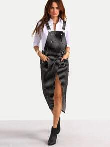Black and White Striped Split Suspender Dress