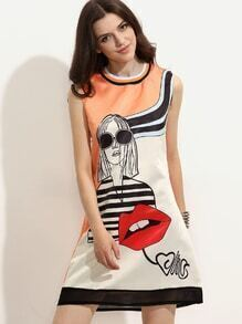 Orange Abstract Print Sheer Trim Sleeveless Dress