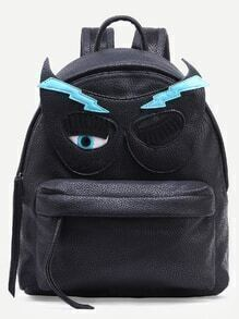 Black Pebbled Faux Leather Eye Mask Patch Backpack