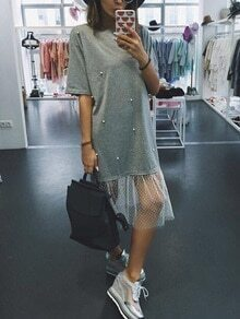 Grey Mesh Trim Pearl Beaded T-shirt Dress