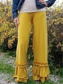 Yellow Layered Ruffle Hem Wide Leg Pants