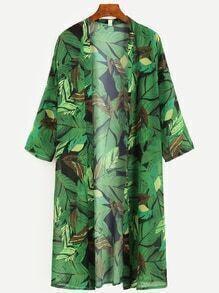 Green Tropical Leaf Print Longline Kimono