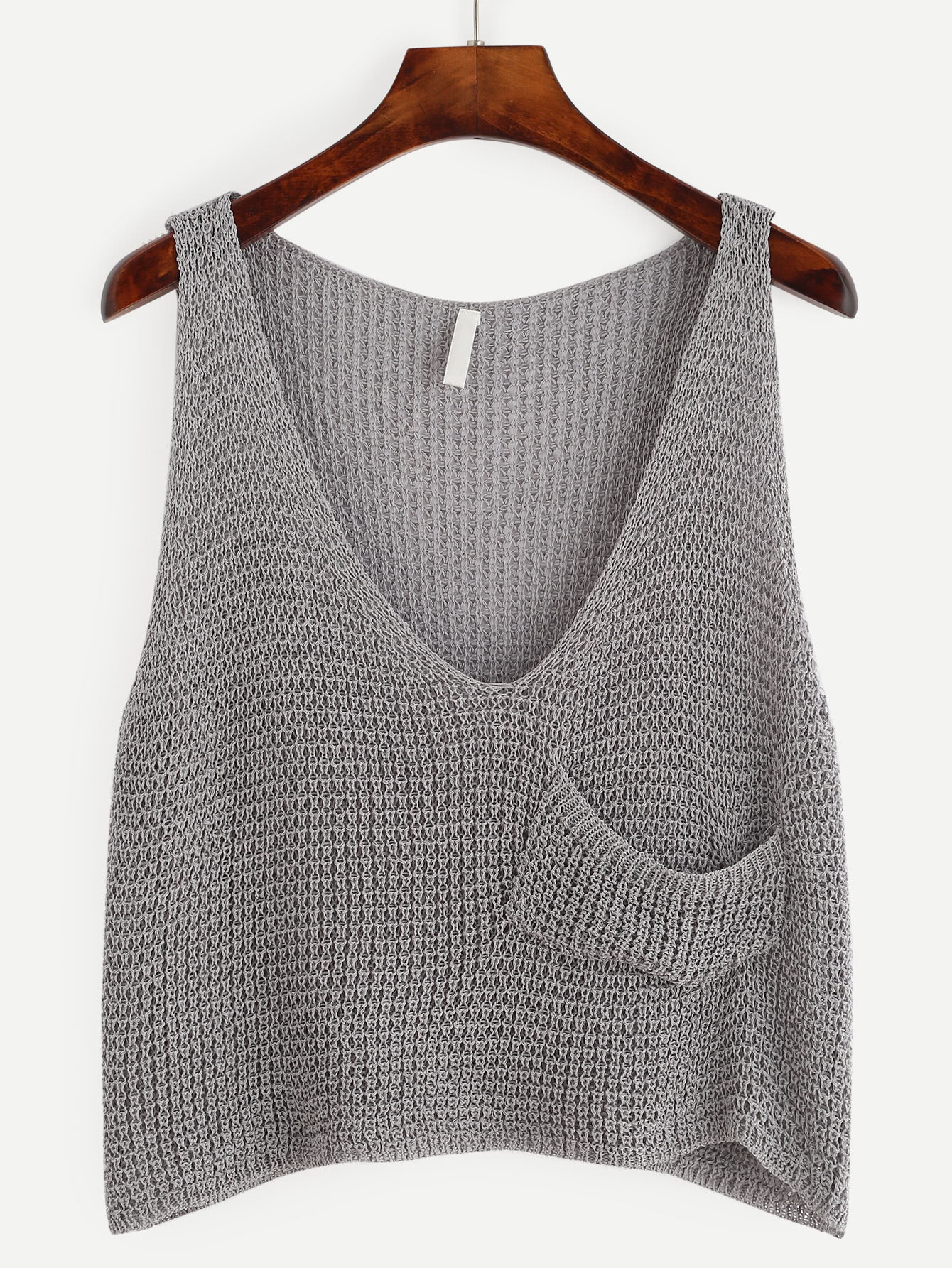 Grey Knit Crop Tank Top With Front PocketFor Women-romwe