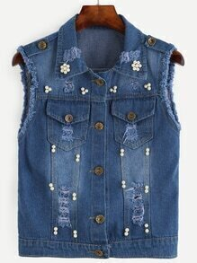 Blue Frayed Pearl Beaded Denim Vest