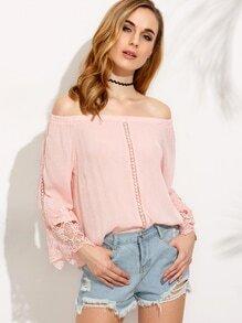 Pink Crochet Insert Off The Shoulder Top