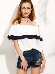 White Contrast Panel Crochet Insert Cold Shoulder Top