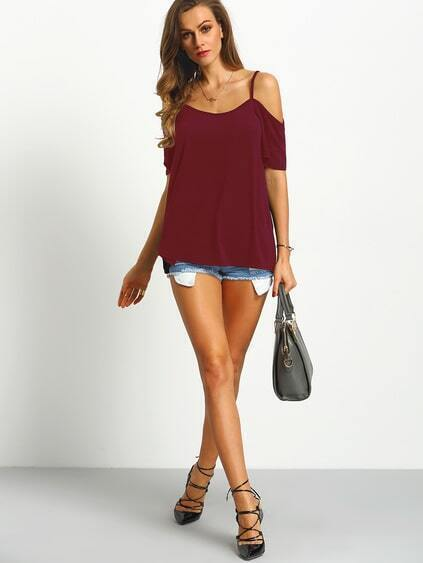 Burgundy Cold Shoulder T-shirt