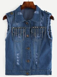 Blue Frayed Studded Chain Detail Denim Vest