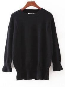 Black Elastic Cuff Plain Slim Sweater