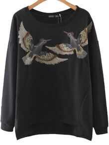 Black Bird Embroidery Slim Sweatshirt