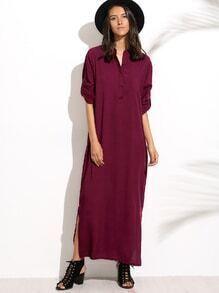 Burgandy Split Side Shirt Dress
