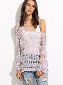 V Cut Back Hollow Out Sweater