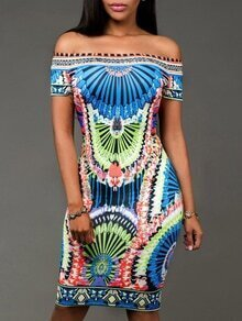 Multicolor Tribal Print Off The Shoulder Sheath Dress