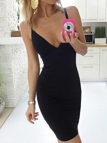 Black Deep V Neck Cami Bodycon Dress