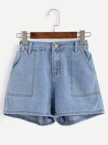 Blue Topstitch Denim Shorts