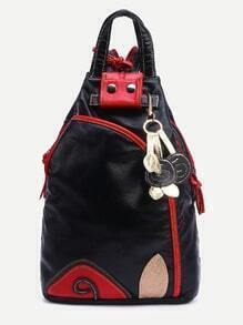Black Contrast Patch Lovely Charm Detail Double Handle Backpack