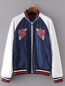 Dark Blue Embroidery Pockets Zipper Jacket