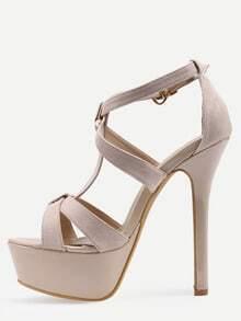 Faux Apricot Suede Platform High Heel Sandals