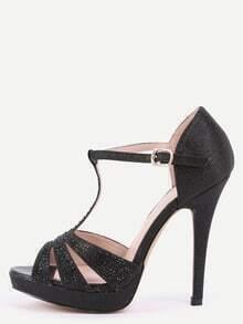 Black T-Strap Platform Sandals