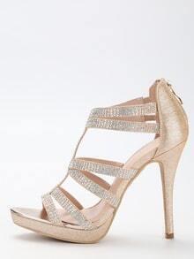 Gold Glitter Caged Platform Sandals
