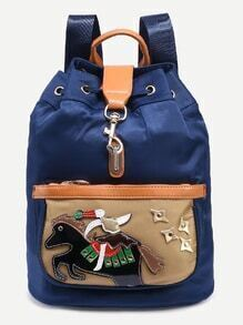 Navy Horse Patch Drawstring Backpack With Clasp Closure