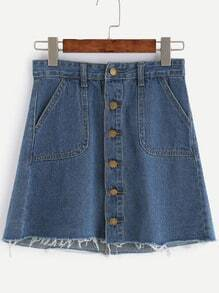 Blue Button Front Raw Hem Denim Skirt