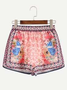 Pink Flower Print Elastic Waist Shorts