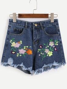 Blue Flower Embroidered Frayed Denim Shorts