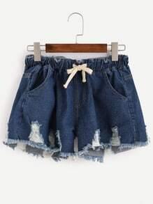 Blue Frayed Drawstring Denim Shorts