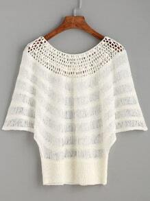 White Ribbed Hem Hollow Out Crochet Top