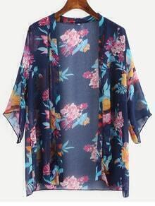 Navy Flower Print Kimono