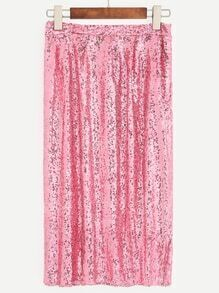 Pink Sequin Flare Skirt