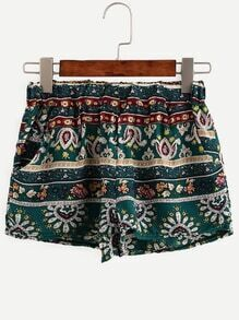 Green Ornate Print Elastic Waist Shorts