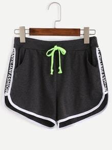 Black Letter Print Contrast Binding Shorts