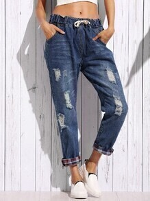 Blue Distressed Boyfriend Jeans With Plaid Lining Detail