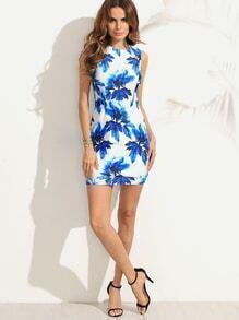 Blue Floral Print Bodycon Sleeveless Dress