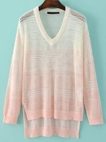 Ombre V Neck Hollow Dipped Hem Sweater