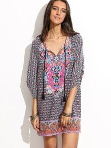 Multicolor Half Sleeve V Neck Printed Dress