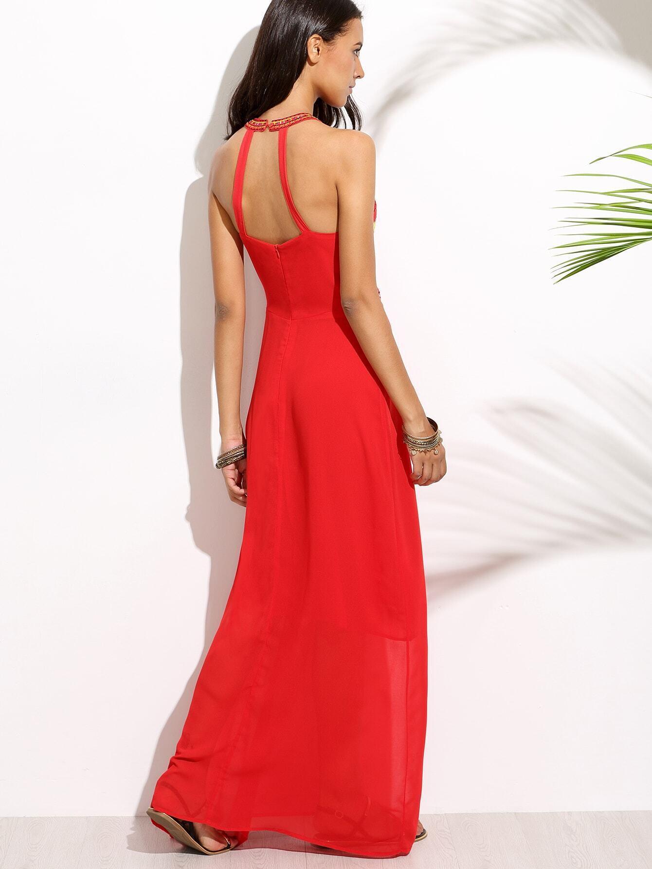 Robe longue ras de cou avec broderie rouge french romwe for Interieur paupiere inferieure rouge