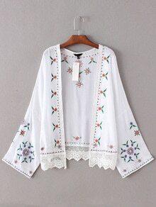 White Bell Sleeve Embroidery Crochet Kimono