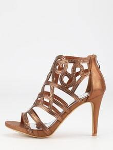 Tan Faux Suede Laser-Cut Peep Toe Sandals