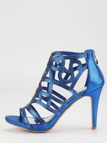 Blue Faux Suede Laser-Cut Peep Toe Sandals