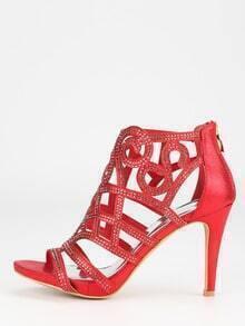 Red Faux Suede Laser-Cut Peep Toe Sandals
