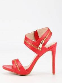 Zipper Embellished Strappy Sandals - Red