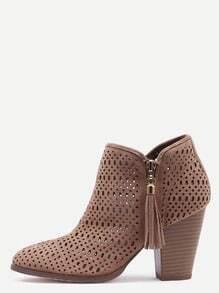 Khaki Faux Suede Laser Cut Wood Heel Boots