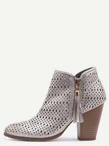Silver Faux Suede Laser Cut Wood Heel Boots