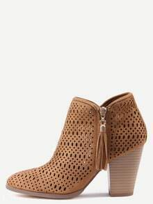 Tan Faux Suede Laser Cut Wood Heel Boots