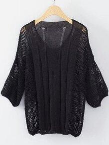 Black V Neck Elastic Cuff Knitwear