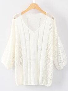 White V Neck Elastic Cuff Knitwear