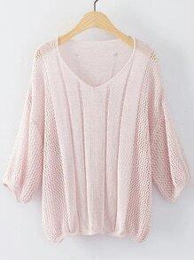 Pink V Neck Elastic Cuff Knitwear